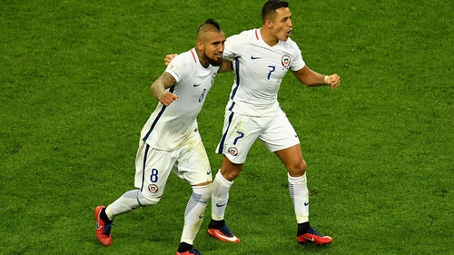 Arturo Vidal and Alexis Sanchez on international duty with Chile