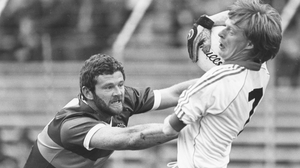 Eoin 'The Bomber' Liston of Kerry tackles Declan Flanagan of Monaghan in the 1985 All-Ireland semi-final