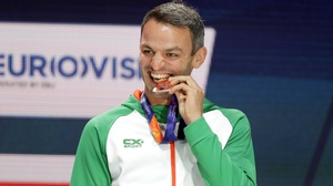 Thomas Barr makes sure his medal isn't made of chocolate
