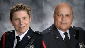 Officers Sara Mae Helen Burns, 43, and Lawrence Robert Costello, 45, were killed in the attack