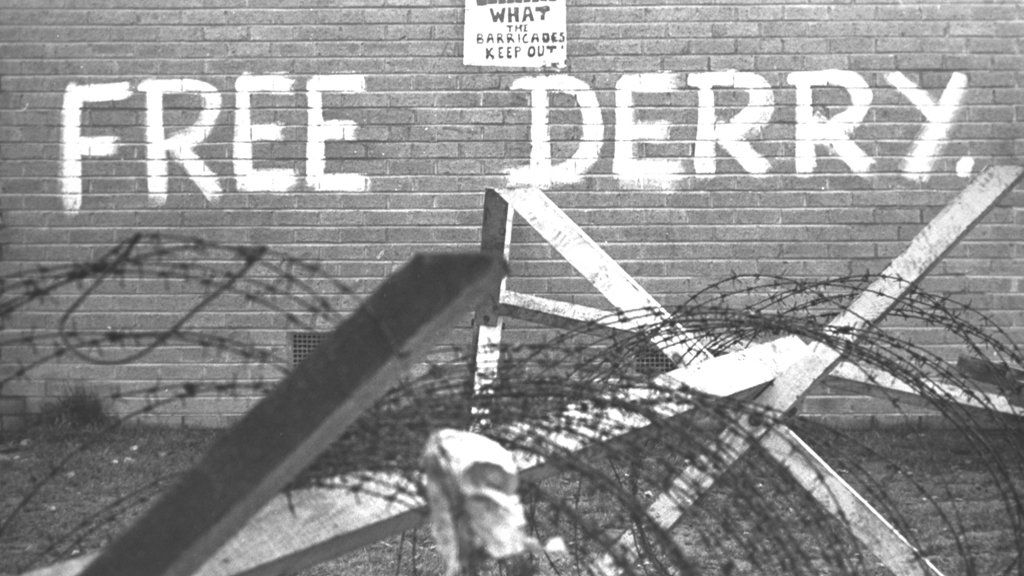 Republican graffiti and poster, 1969.  © RTÉ Stills Library 0119/040
