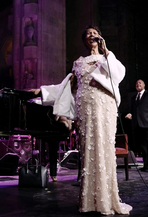 Aretha Franklin performs at the Elton John AIDS Foundation Commemorates Its 25th Year in 2017