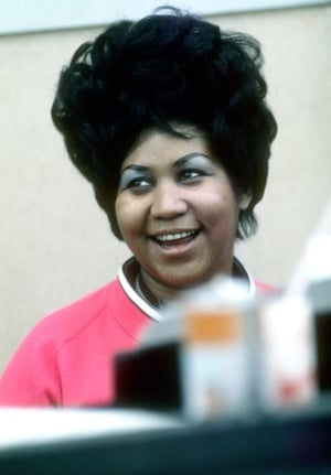 Aretha Franklin sings in the Atlantic Records studio during 'The Weight' recording sesssion on January 9, 1969