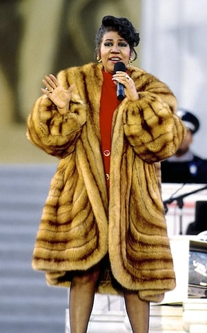 Aretha Franklin preforms at the Lincoln Memorial for President William Jefferson Clinton's inaugural gala Washington, DC. USA, January 17, 1993 (Photo by Mark Reinstein/Corbis via Getty Images)