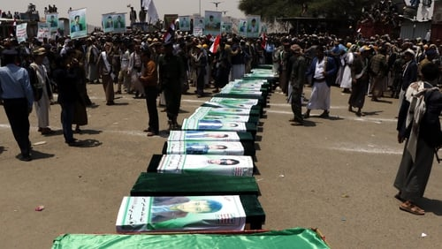 Protests at funeral for Yemeni children killed in Saudi-US coalition strike