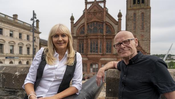 Miriam-OCallaghan-with-Eamonn-McCann-in-Derry