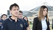 Giuseppe Conte at the scene in Genoa after yesterday's bridge collapse