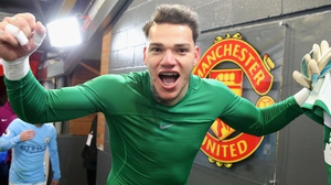 Ederson celebrates Manchester City's win at Old Trafford last December