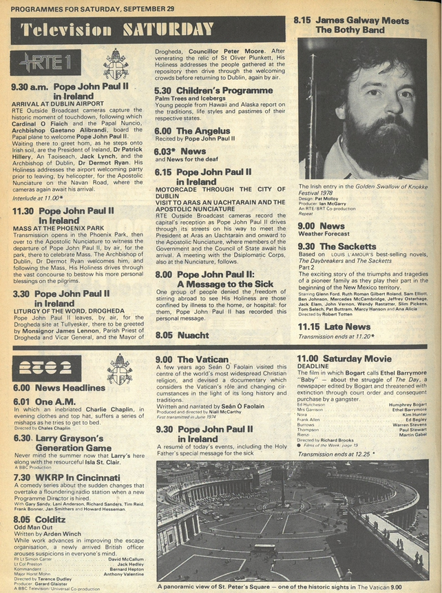 RTÉ Guide Pope TV Coverage 29 September 1979