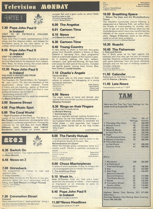 RTÉ Guide Pope TV Coverage 1 October 1979
