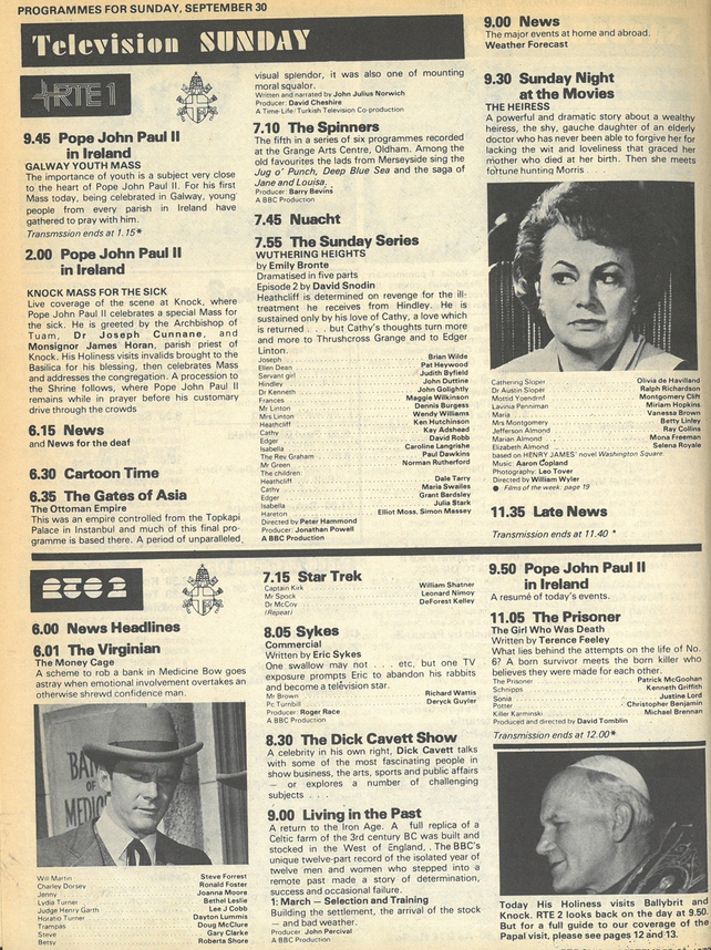 RTÉ Guide Pope TV Coverage 30 September 1979