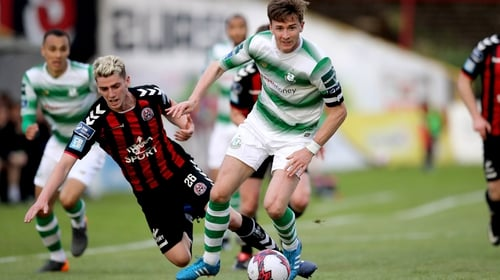 Dylan Watts of Bohemians and Shamrock Rovers' Ronan Finn during the league meeting back in May