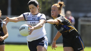 Cavan's Aisling Maguire is tackled by Aishling Moloney during the Division 2 final in May