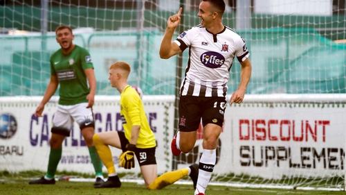 Robbie Benson celebrates scoring his goal