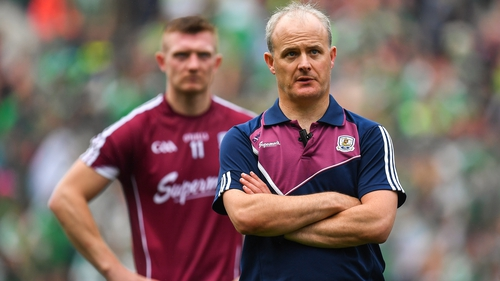 Former Galway manager Micheál O'Donoghue and Joe Canning after the 2018 final