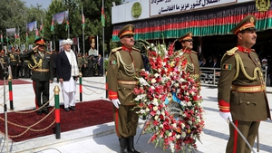 President Ghani lays a wreath in Kabul on Independence Day marking the 99th anniversary of Afghanistan's independence from Britain