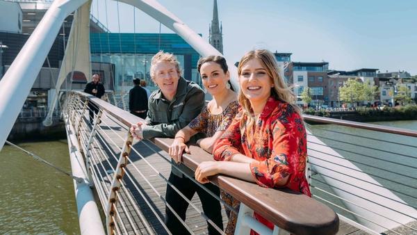 Fleadh TV presenters Hector Ó hEochagáin, Ruth Smith and Doireann Ní Ghlacáin