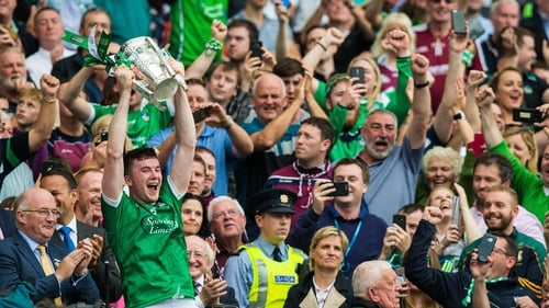Declan Hannon lifts the Liam MacCarthy for Limerick