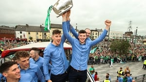 Limerick's Diarmuid Byrnes and Declan Hannon with the Liam MacCarthy