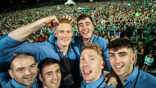 Tom Condon, Lorcan Lyons, William O'Donoghue, Cian Lynch, Diarmuid Byrnes and Aaron Gillane pose for a selfie taken by Cian Lynch