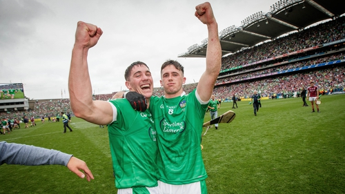 Sean Finn and Darragh O'Donovan celebrate Limerick's All-Ireland victory
