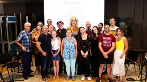 This week's Pantisocracy line-up: David Honeyford, Rita Duffy, Steafán Hanvey, host Panti Bliss, Morgan MacIntyre and Gemma Doherty (Saint Sister) - credit: John Howard/Athena Media