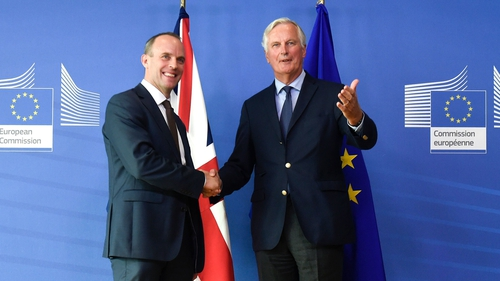 UK Brexit Secretary Dominic Raab and EU Chief Negotiator Michel Barnier.