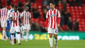 A dejected Bojan Krkic of Stoke City following the home defeat by Wigan
