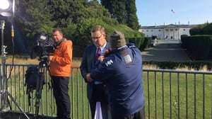 Getting ready for RTÉ's television coverage of the Pope's visit. Presenter Bryan Dobson with cameraman Magnus Kelly and sound engineer Danny McDonald at Áras an Uachtaráin