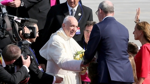 The Pope was greeted by bishops and Tánaiste Simon Coveney