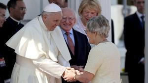 Pope Francis and Katherine Zappone at Áras an Uachtaráin on Saturday