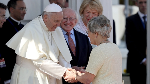 Pope Francis and Katherine Zappone at Áras an Uachtaráin on Saturday