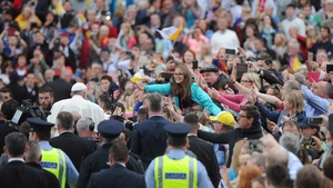 Pope Francis greets faithful during the World Meeting of Families in Croke Park