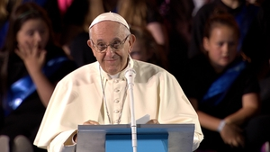 Pope Francis addresses the crowds at Croke Park