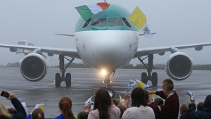This morning, the Pope flew on the St Aidan Aer Lingus plane to Knock Airport. Around 100 Co Mayo schoolchildren were among those who welcomed him