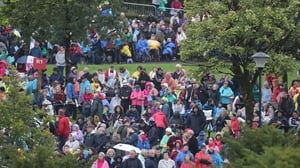 Pilgrims waiting for the arrival of the Pope at Knock Holy Shrine in Co Mayo