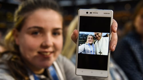 Alison Nevin hid her mobile phone up her sleeve before asking the Pope to pose for a selfie