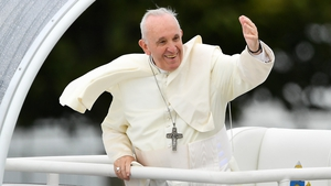 Pope Francis arriving at the Papal Mass