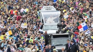 The Pope was greeted by wellwishers when he arrived at Phoenix Park in the popemobile