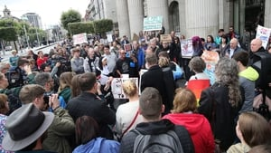 Before taking part in a protest to coincide with the Papal Mass, clerical sex abuse protesters assembled at the GPO on O'Connell Street