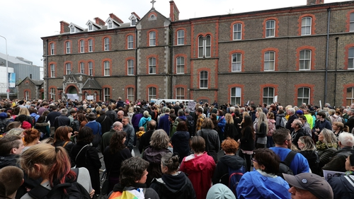 The Stand4Truth rally gathers outside the former Magdalene laundry on Sean McDermott St in Dublin