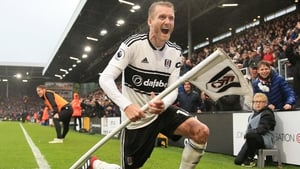 Andre Shurrle of Fulham celebrates after scoring his team's fourth goal