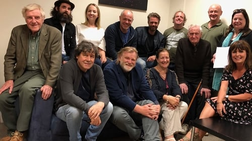 The cast and crew of John Boorman's new RTÉ play, Domestic Robots, at the recording earlier this month.