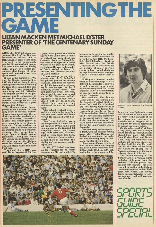 Michael Lyster and the Sunday Game, RTÉ Guide 29 June 1984