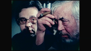 Peter Bogdanovich and John Huston in Orson Welles' The Other Side Of The Wind