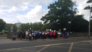 Protesters outside the entrance to RTÉ