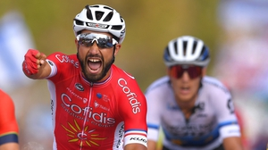 Nacer Bouhanni of France and Team Cofidis celebrates his stage win