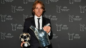 Luka Modric shows off his awards