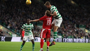 Kristoffer Ajer of Celtic scores their third goal