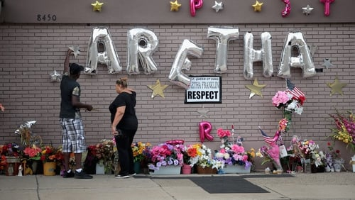 A memorial to the late Aretha Franklin was set up outside the New Bethel Baptist Church in Detroit, Michigan